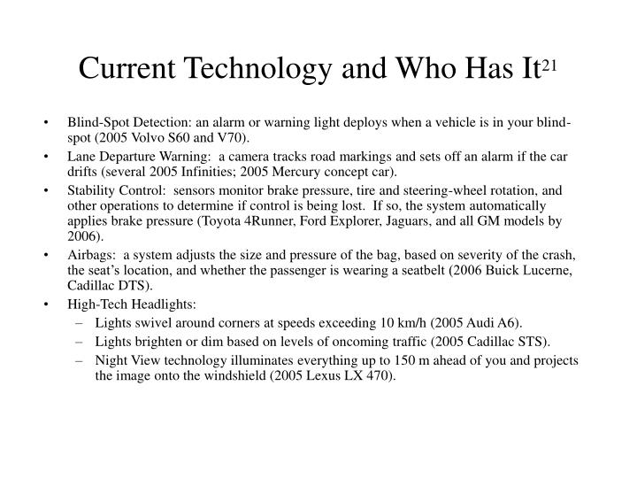 Current Technology and Who Has It
