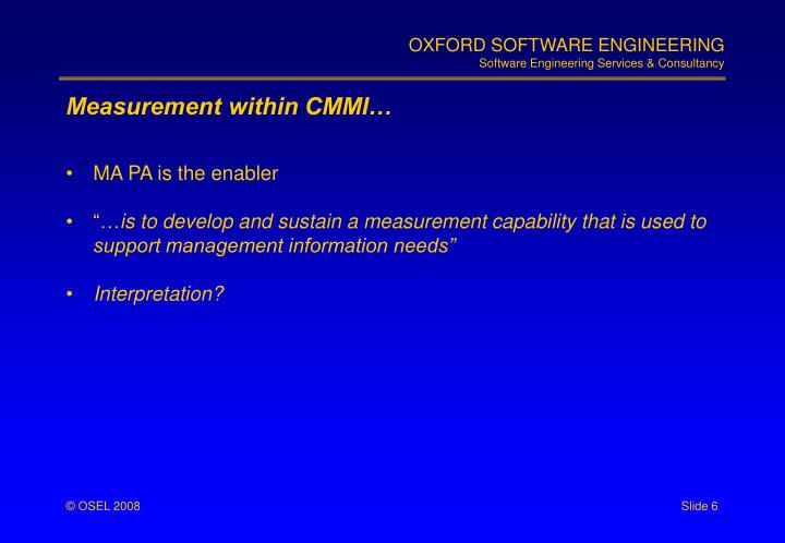 Measurement within CMMI…
