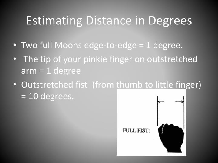 Estimating Distance in Degrees