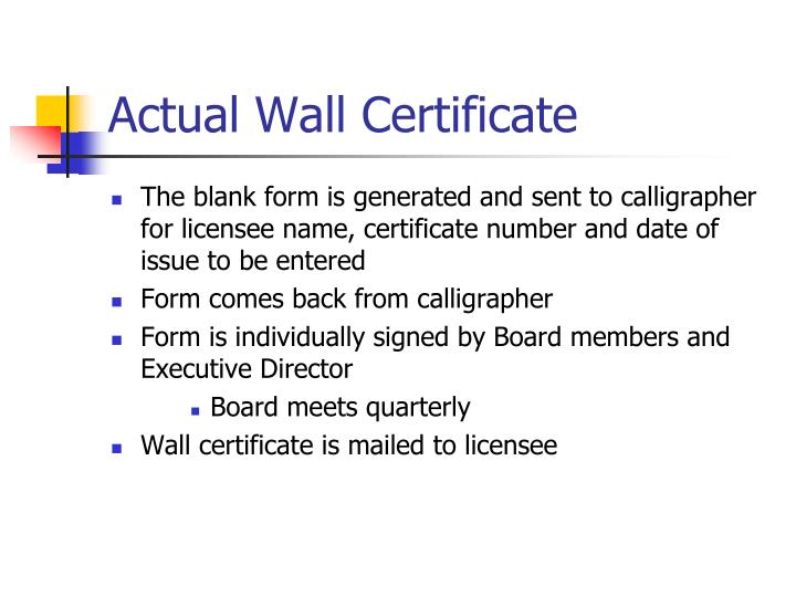 Actual Wall Certificate