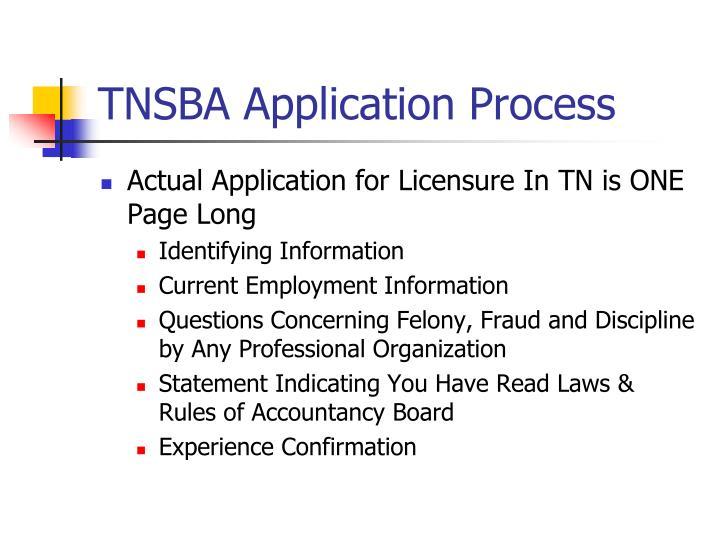 TNSBA Application Process