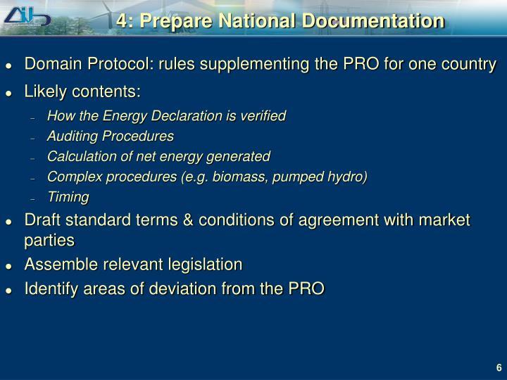 4: Prepare National Documentation