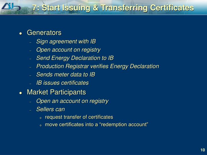 7: Start Issuing & Transferring Certificates