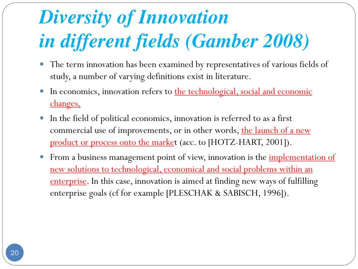 Diversity of Innovation