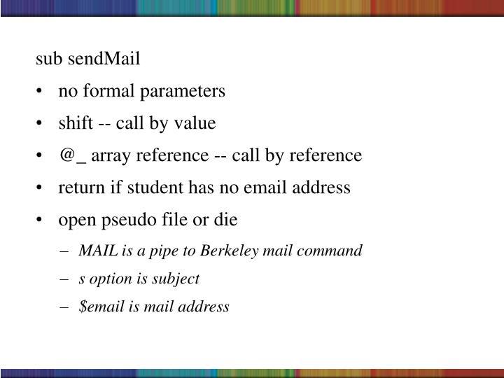 sub sendMail