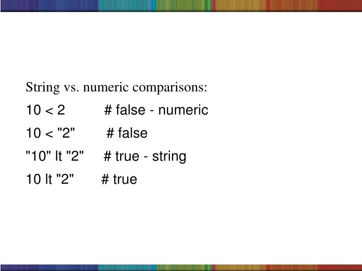 String vs. numeric comparisons: