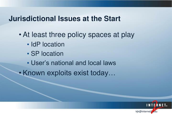 Jurisdictional Issues at the Start