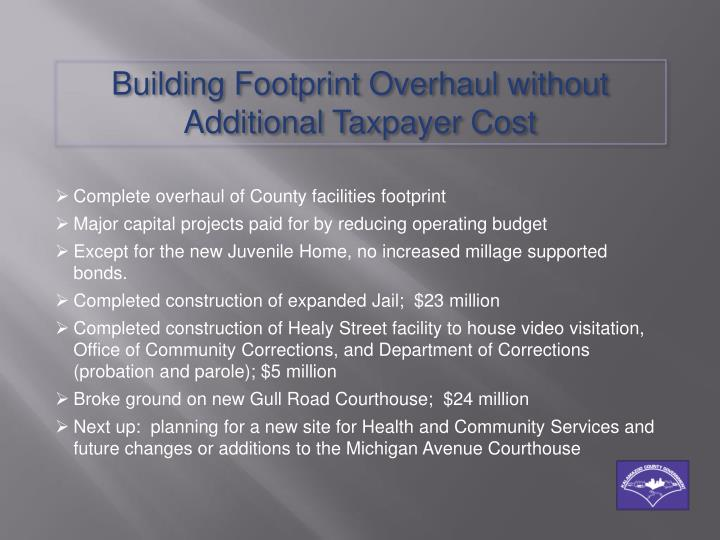 Building Footprint Overhaul without Additional Taxpayer Cost