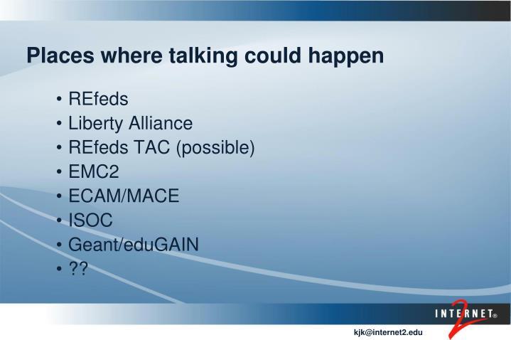 Places where talking could happen