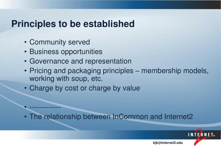 Principles to be established