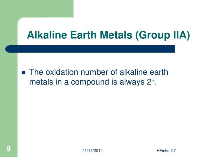 Alkaline Earth Metals (Group IIA)