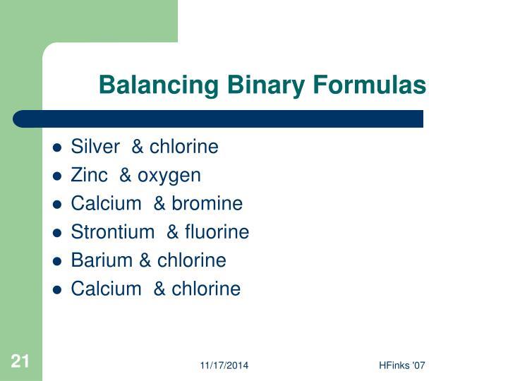 Balancing Binary Formulas