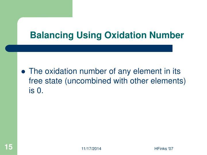 Balancing Using Oxidation Number
