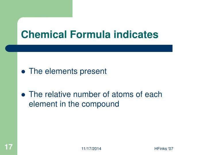 Chemical Formula indicates