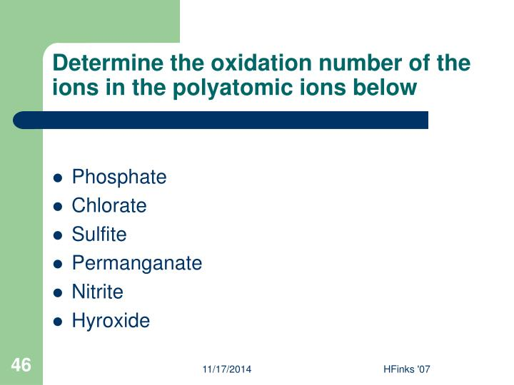 Determine the oxidation number of the ions in the polyatomic ions below
