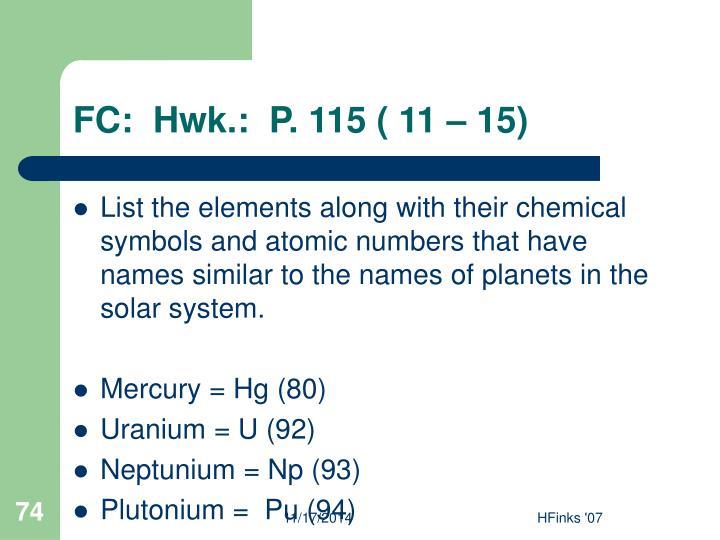 FC:  Hwk.:  P. 115 ( 11 – 15)