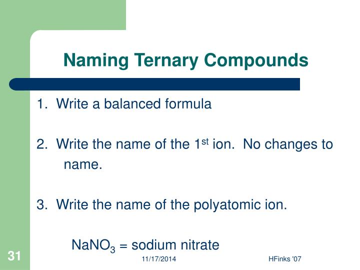Naming Ternary Compounds
