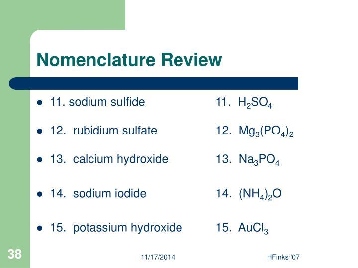 Nomenclature Review