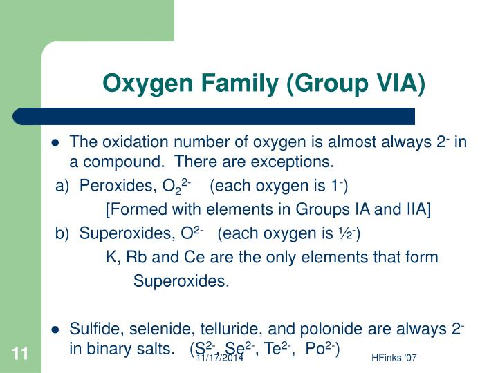 Oxygen Family (Group VIA)