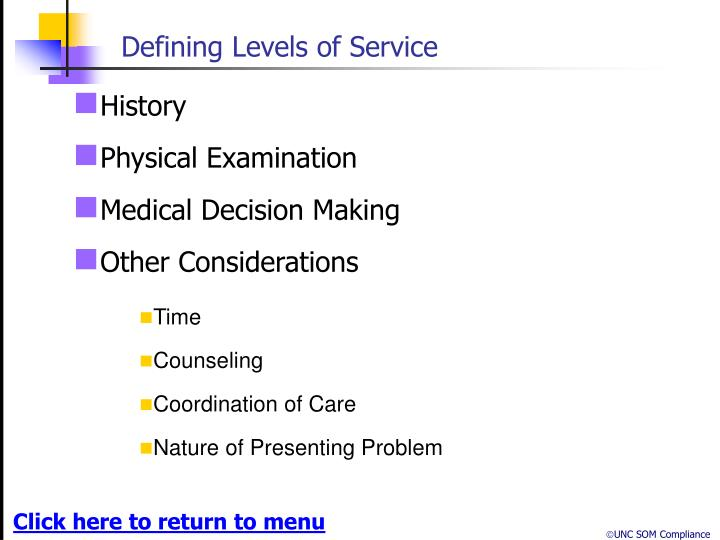 Defining Levels of Service