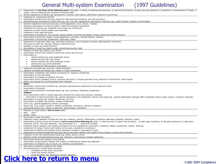 General Multi-system Examination      (1997 Guidelines)