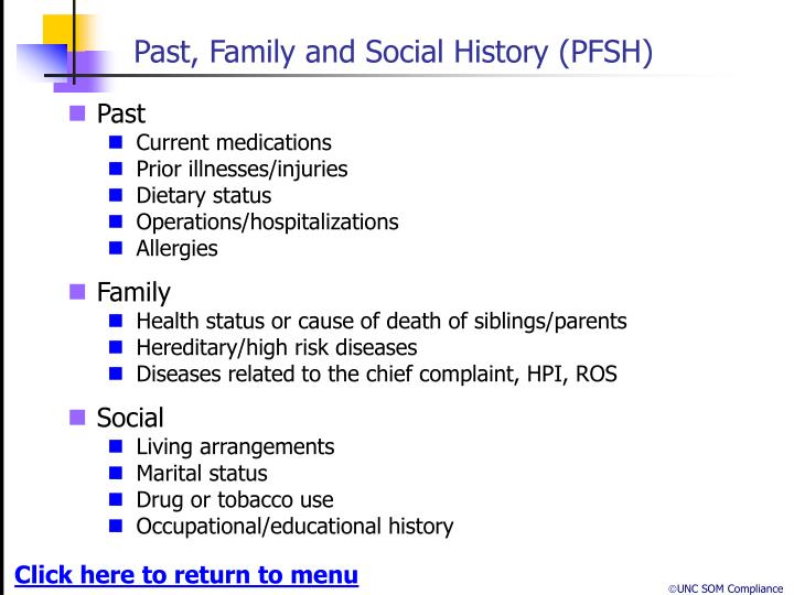 Past, Family and Social History (PFSH)