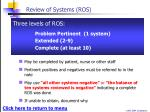 review of systems ros1
