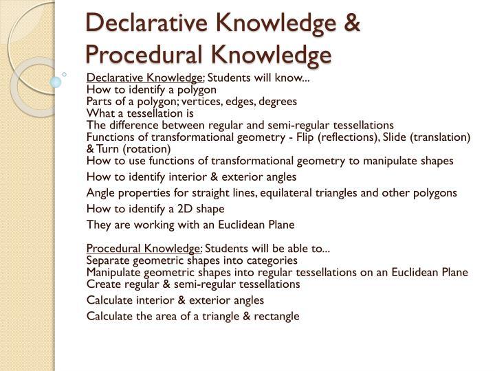Declarative Knowledge & Procedural Knowledge