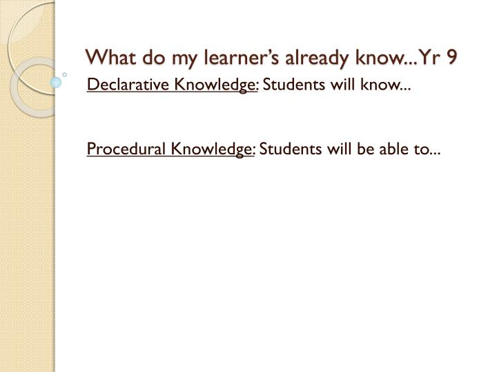 What do my learner's already know... Yr 9