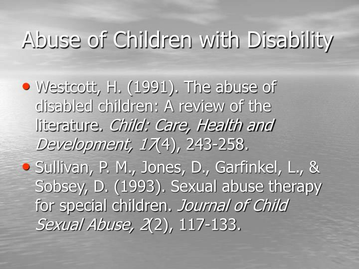 Abuse of Children with Disability