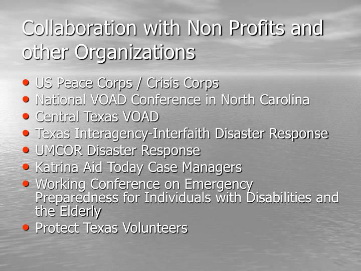 Collaboration with Non Profits and other Organizations