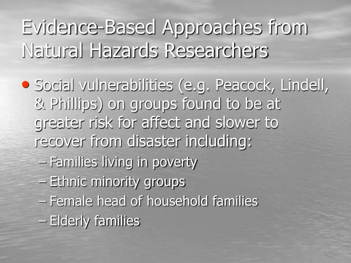 Evidence-Based Approaches from Natural Hazards Researchers