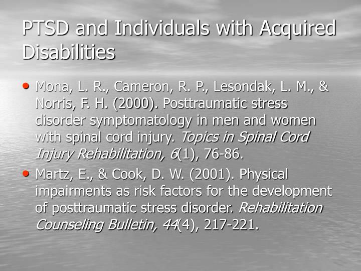PTSD and Individuals with Acquired Disabilities