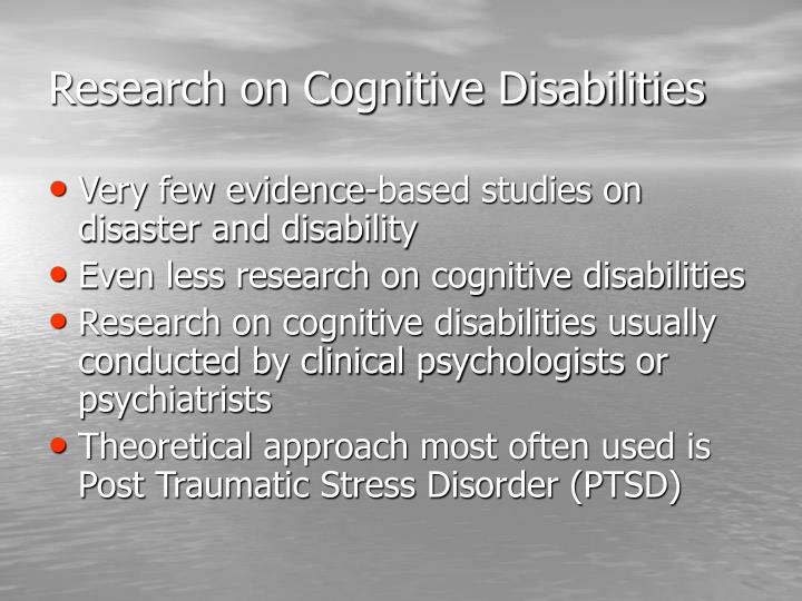 Research on Cognitive Disabilities