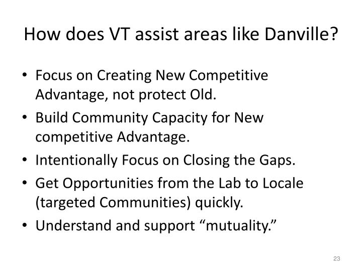 How does VT assist areas like Danville?