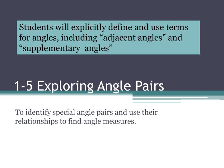 """Students will explicitly define and use terms for angles, including """"adjacent angles"""" and """"supplementary  angles"""""""