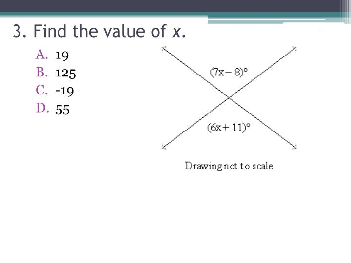 3. Find the value of