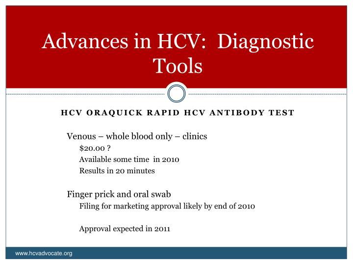 Advances in HCV:  Diagnostic Tools