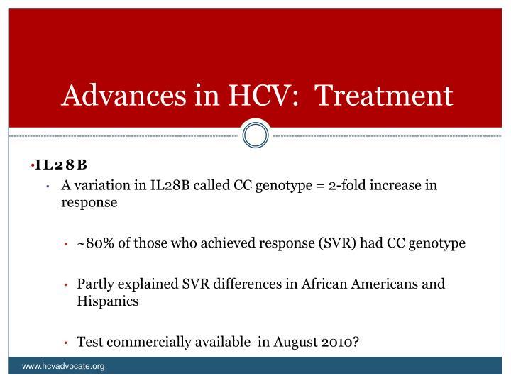 Advances in HCV:  Treatment