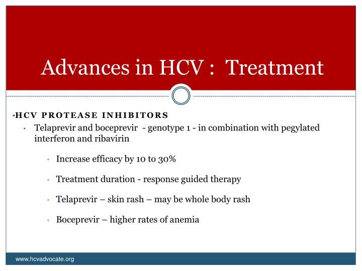 Advances in HCV :  Treatment