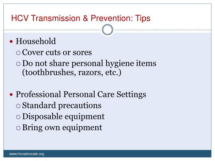 HCV Transmission & Prevention: Tips