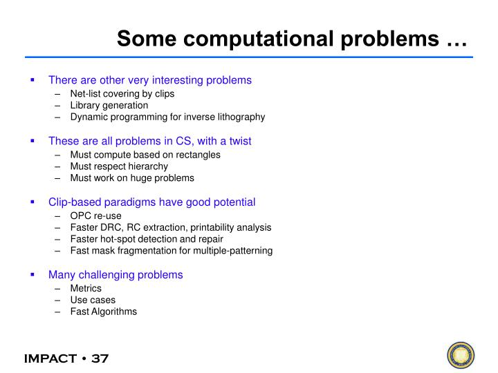 Some computational problems …