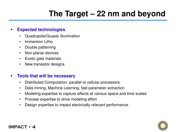 The Target – 22 nm and beyond