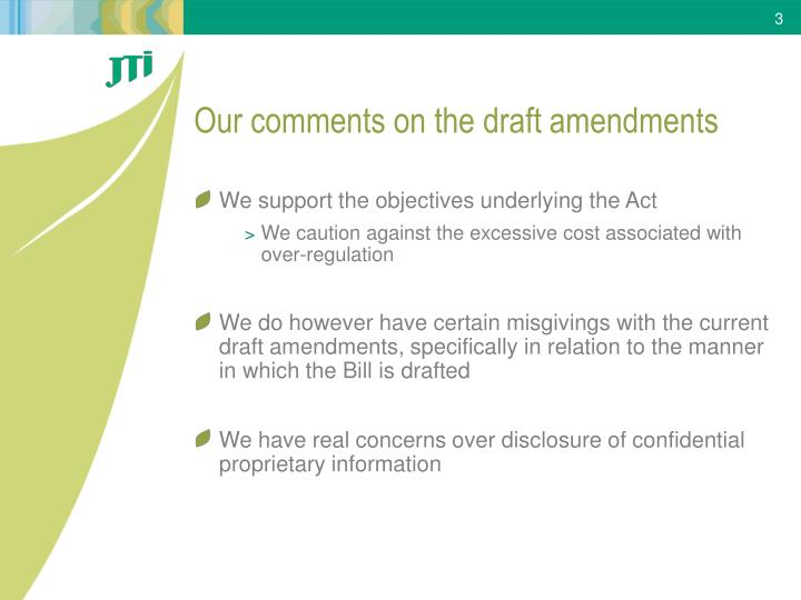 Our comments on the draft amendments