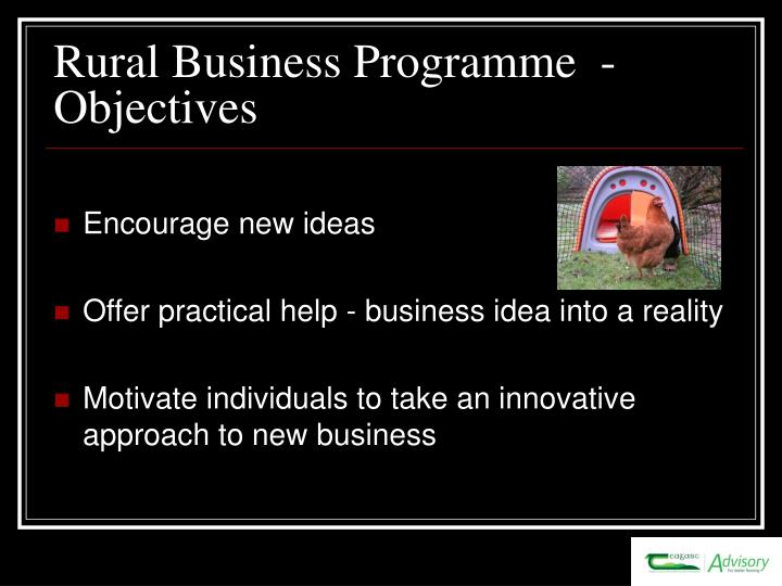 Rural business programme objectives