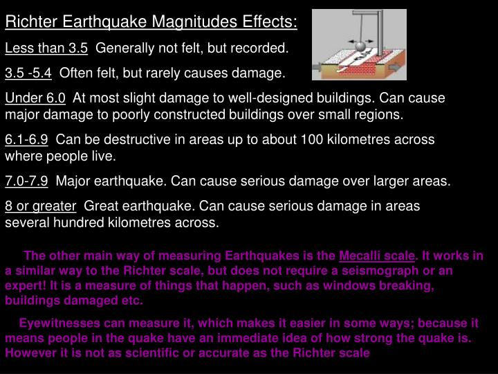 Richter Earthquake Magnitudes Effects: