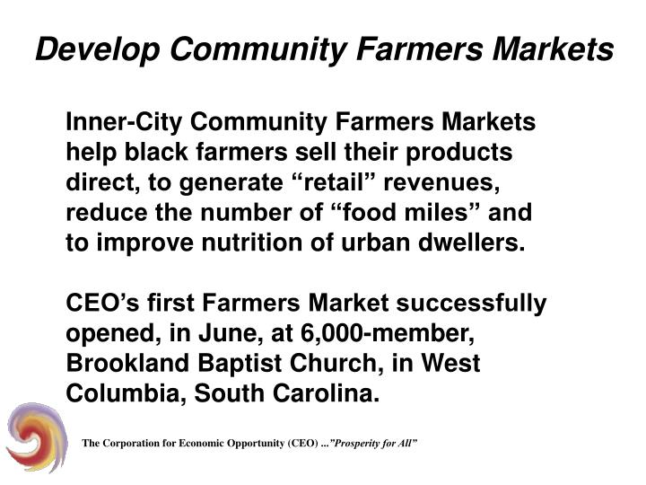 Develop Community Farmers Markets