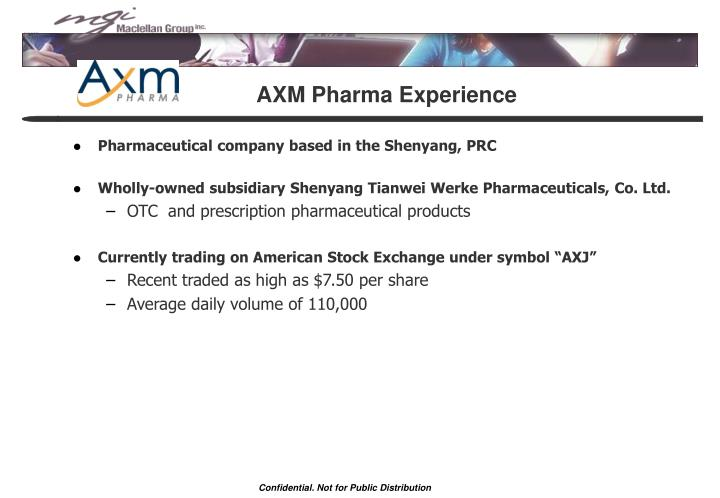 AXM Pharma Experience