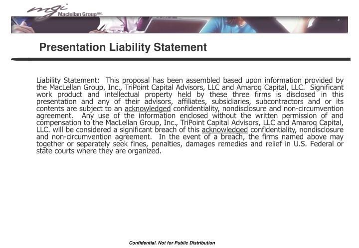 Presentation liability statement