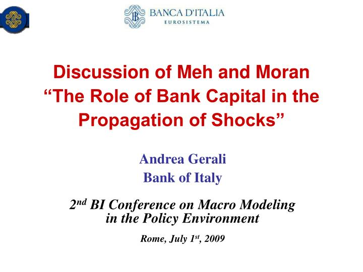Discussion of meh and moran the role of bank capital in the propagation of shocks